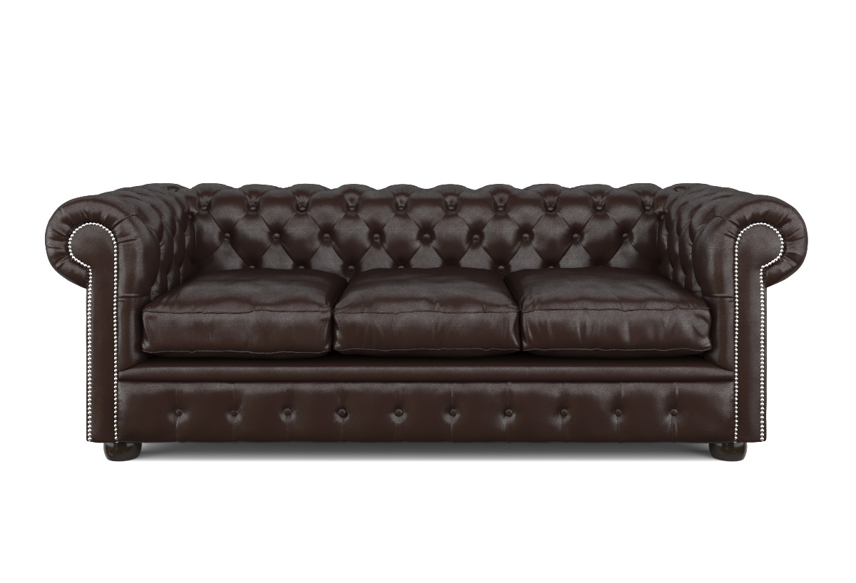 edles chesterfield 3er sofa dark coffee m nietenbesatz smash. Black Bedroom Furniture Sets. Home Design Ideas